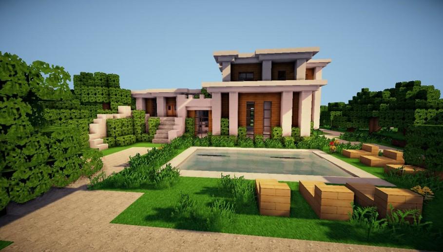 Дом в майнкрафте с красивым участком