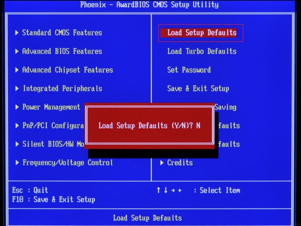 Сброс настроек BIOS