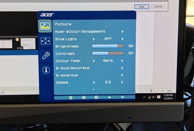 Встроенное меню компьютерного монитора