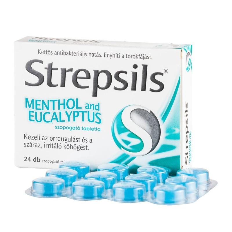 стрепсилс с ментолом и эвкалиптом