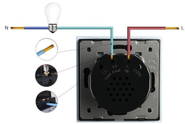 Подключение одноклавишного выключателя