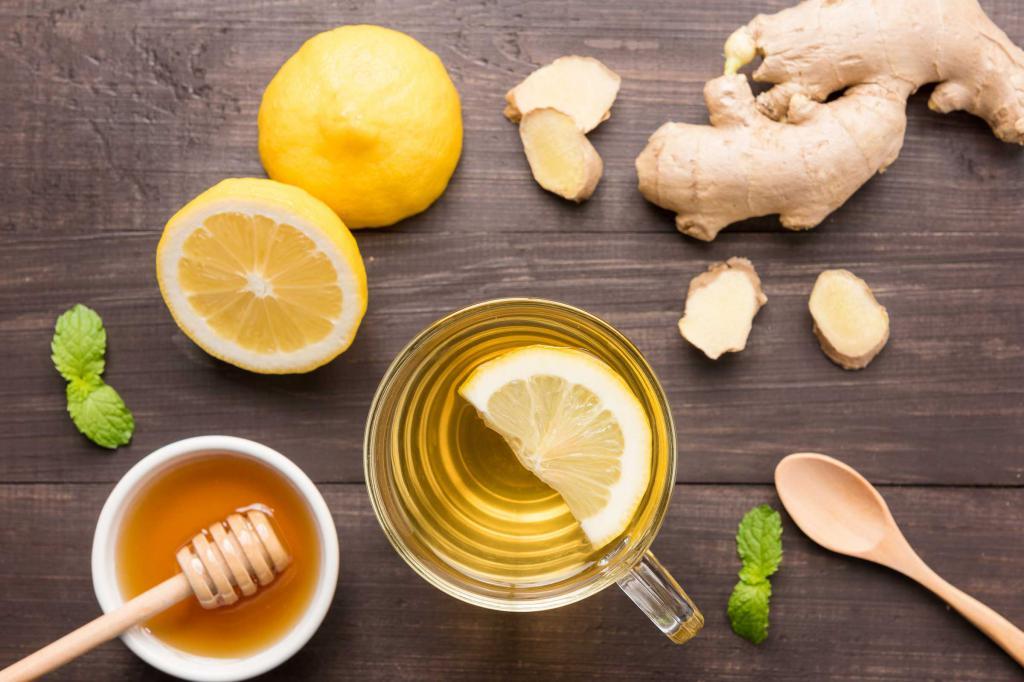 мед, лимон, имбирь