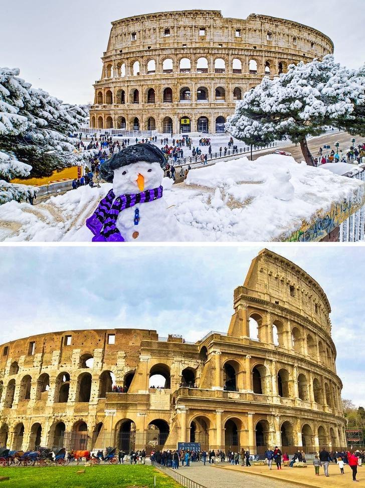 10 мест до и после природных явлений: снег в алжирской пустыне, Колизей во время снегопада