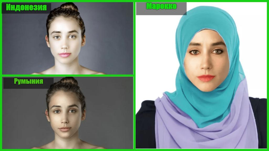 """Девушка изменила свое лицо в """"Фотошопе"""", чтобы сравнить стандарты женской красоты в разных странах мира"""