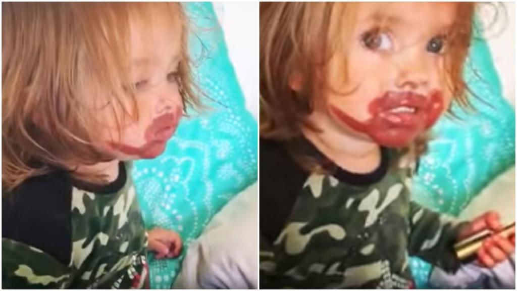 Красота - «страшная» сила: маленькая девочка стащила губную помаду у мамы - результат впечатляет