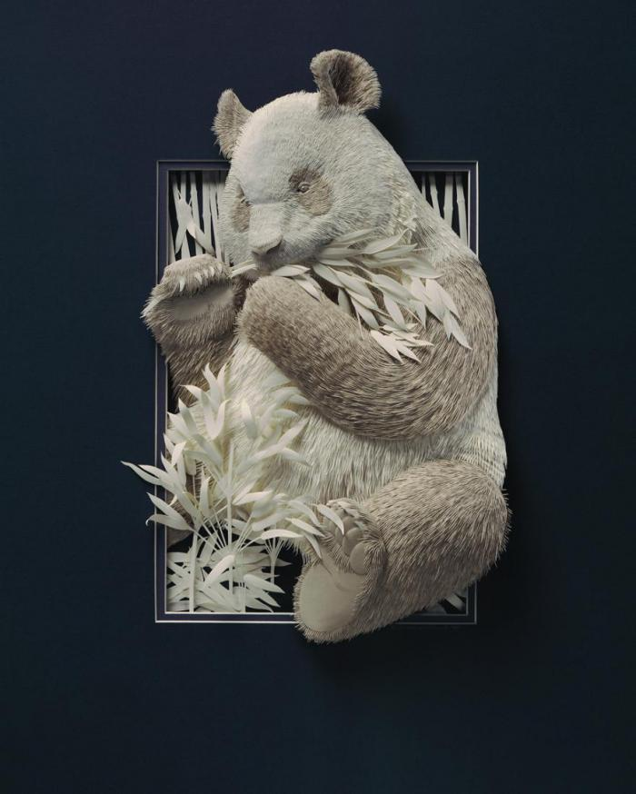 Paper sculpture from Calvin Nicholls is striking in its realism