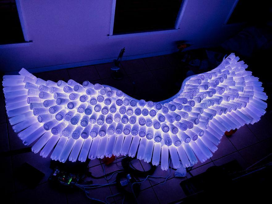 """Искусство из мусора: энтузиасты собрали пустые пластиковые бутылки после футбольного матча и сделали из них световую скульптуру """"Крылья ангела"""" (фото)"""