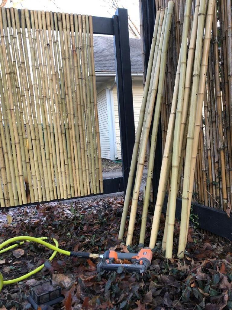 Оригинальная идея для разделения дачных участков: делаем забор из бамбука