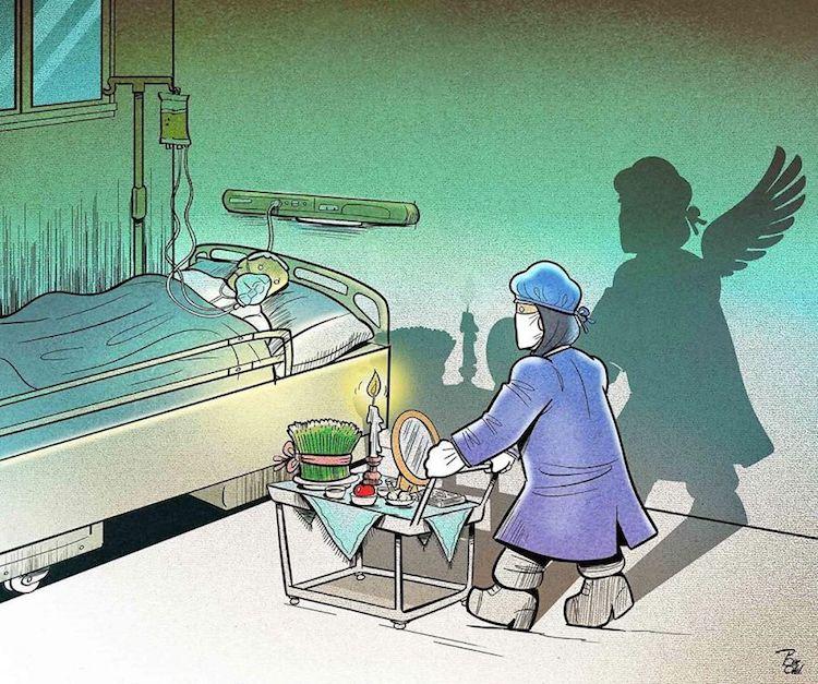 Для тех, кто не соблюдает режим самоизоляции, или Подвиг врачей в иллюстрациях художника