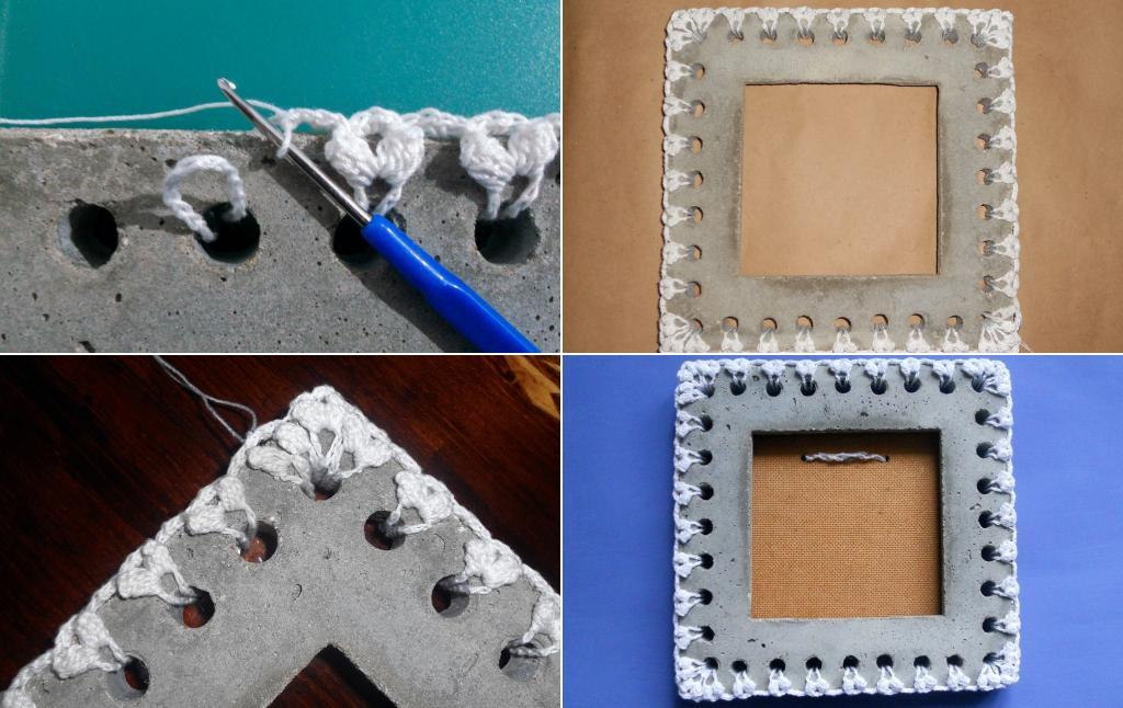 Сочетание грубого и тяжелого с легким и нежным: как сделать оригинальную рамку из кружева и бетона