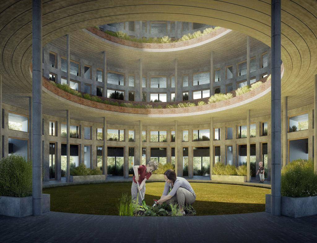Лесная школа оправдывает название: стены здания покрыты растениями, а на крыше - велотрек для занятий школьников