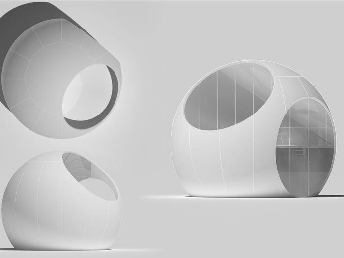 Форма шара позволила архитекторам этого дома максимально расширить внутреннее пространство: чтобы увидеть, за счет чего это достигнуто, заглянем внутрь