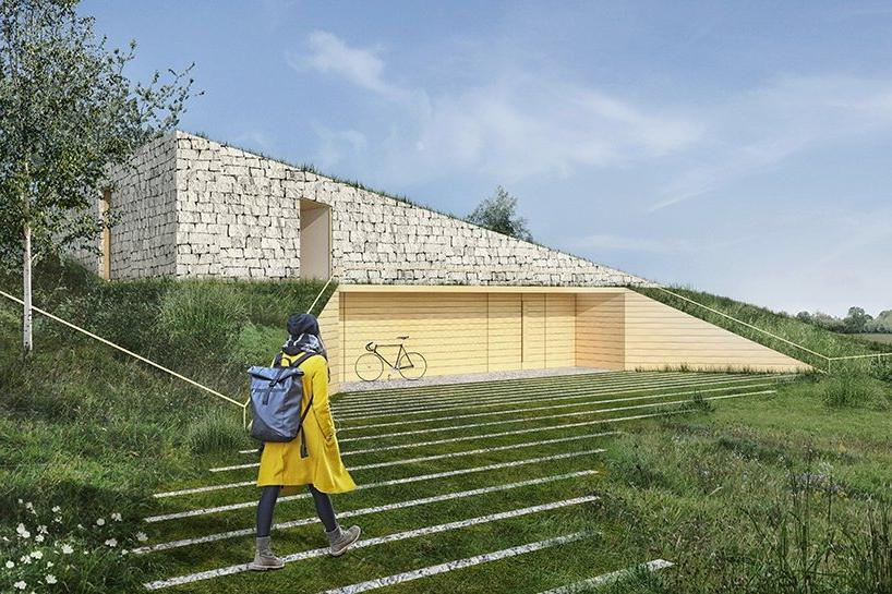 """Архитектор спроектировал """"дом в холмике"""", который должен располагаться в Краковских долинах Польши. Большая часть строения скрыта под землей, а вокруг - природа (фото)"""