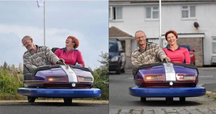 Мужчина купил аттракционный автомобиль за $39 и модифицировал его – теперь они с супругой знаменитости в своем районе (фото)