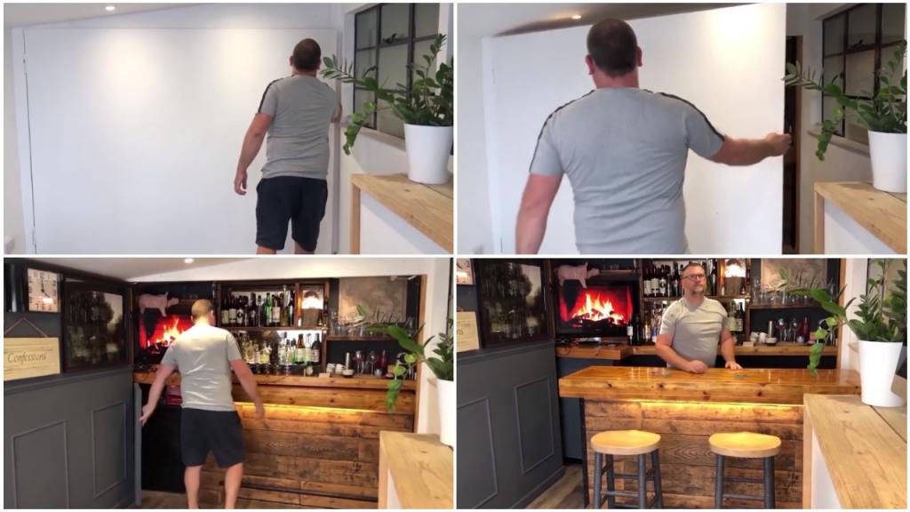 В старом сарае за «фальшивой» стеной мужчина спрятал шикарный бар со стойкой и мебелью
