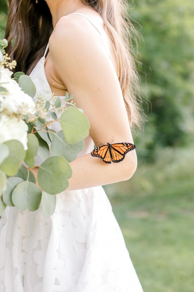 Свадебная фотосессия приобрела сказочный поворот после того, как к паре присоединилась бабочка