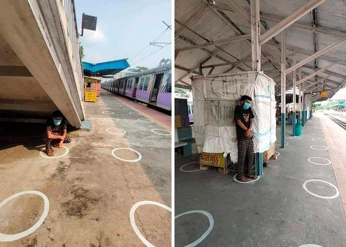 В Индии нанесли разметку для социального дистанцирования: в Сети смеются над тем, насколько она нелепая