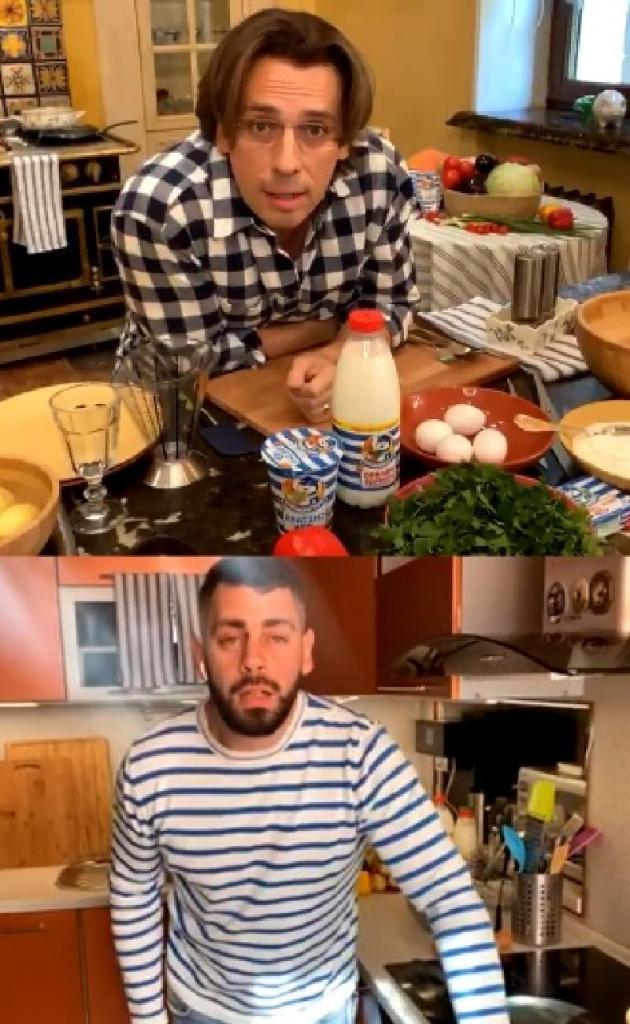 Максим Галкин в прямом эфире в Instagram приготовил картофельные блины на своей роскошной кухне