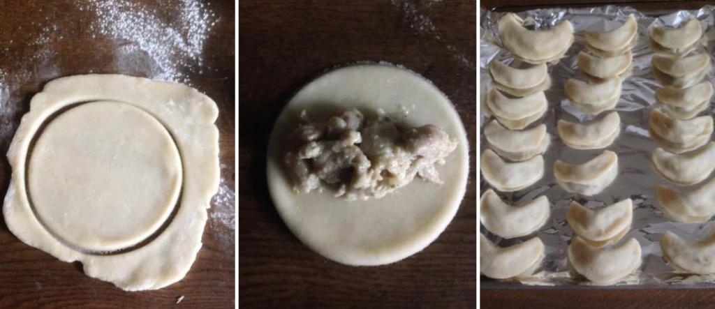 К приходу гостей готовлю свои фирменные полумесяцы: румяные пирожки с начинкой из курицы в сливочном соусе