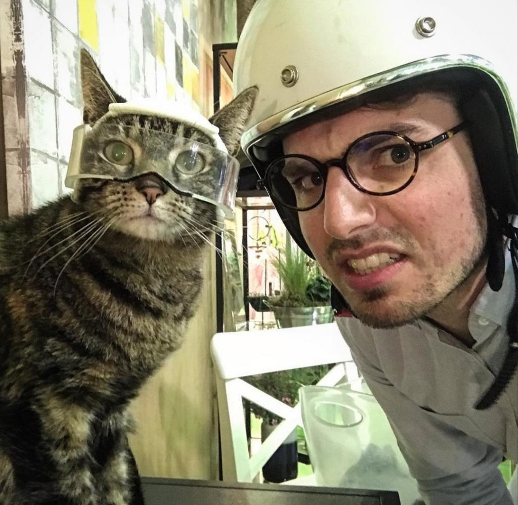 Мурлыкающий пассажир: парень приучил своего кота кататься с ним на лыжах и велосипеде