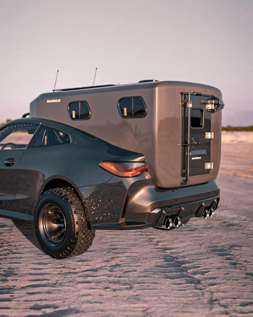 Автономная роскошь: спортивное купе BMW M4 с кроватью, парой солнечных батарей и мини-кухней