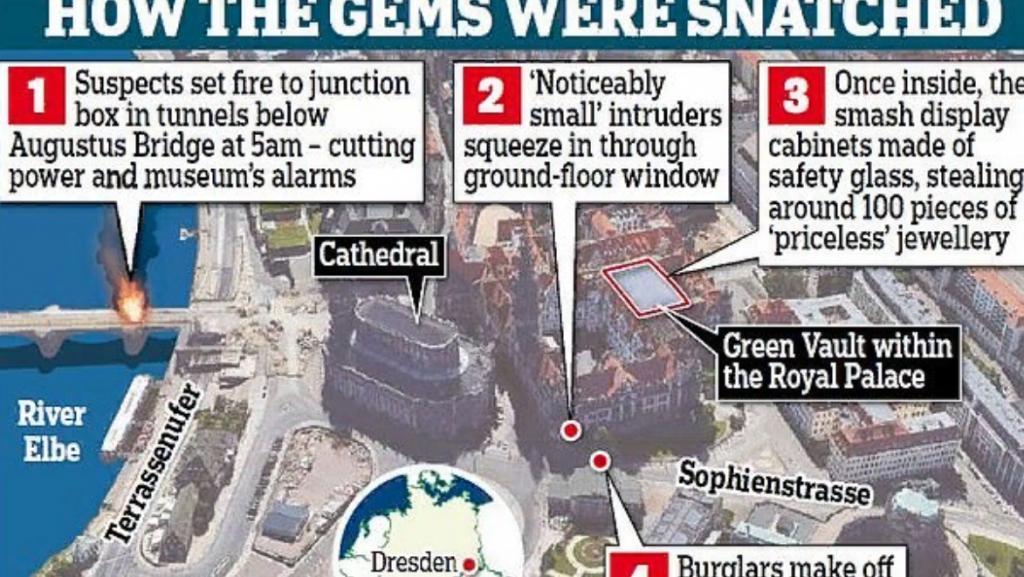 """49-каратный бриллиант и """"бриллиантовый"""" меч: три человека арестованы за кражу бриллиантов на сумму 1 миллиард евро в Дрезденском музее"""