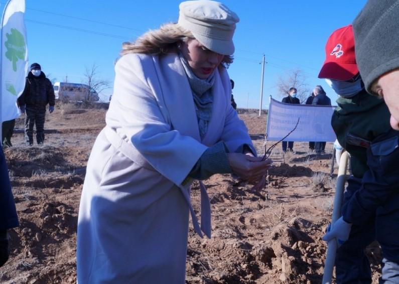 «Несмотря на мощный ветер и холодную погоду, мы справились!»: Анна Семенович в кепи оригинальной формы посадила дерево