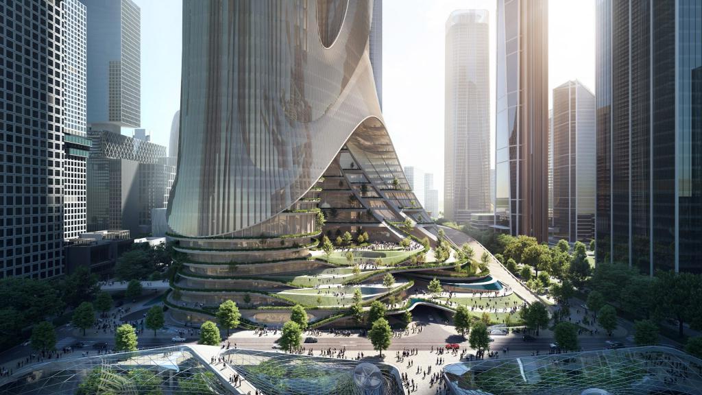 В Китае собираются строить несколько небоскребов, объединенных озелененными террасами. Как выглядит смелый проект
