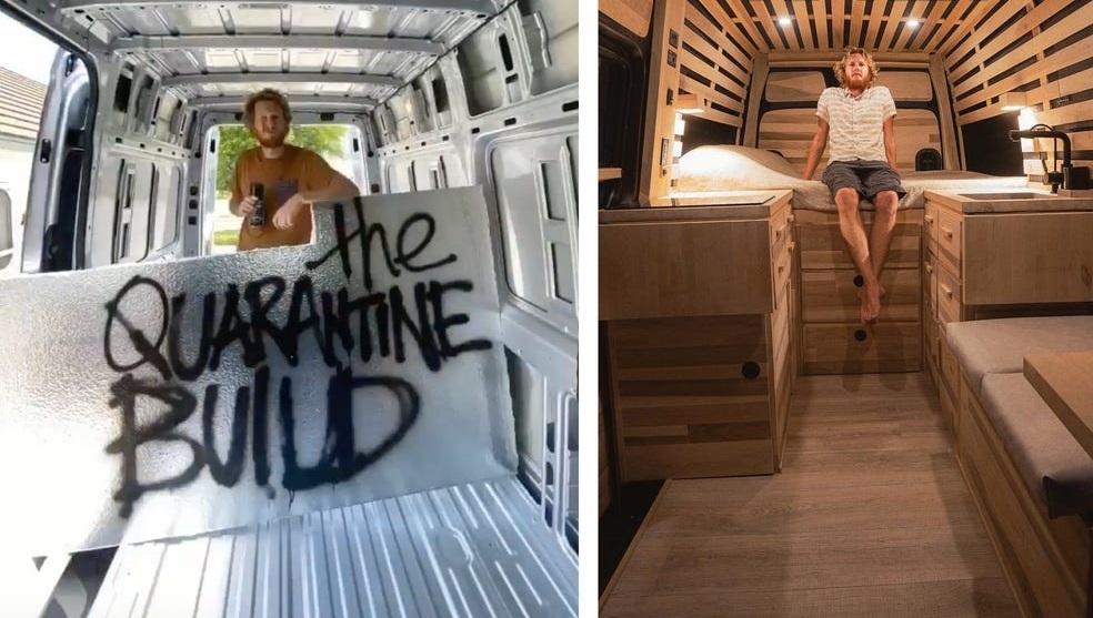 Фотограф живет в фургоне площадью 6 кв.м, но даже в нем он спит на кровати king-size: заглянем внутрь