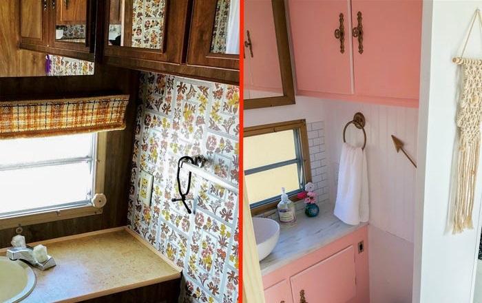 Женщина купила трейлер 70-х годов, преобразила и поселилась в нем: фото изнутри