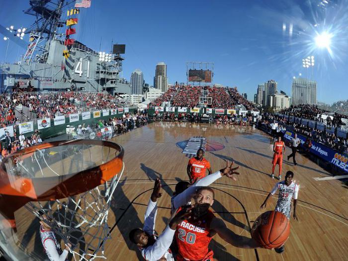 Баскетбольная площадка на авианосце