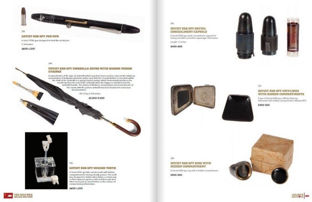 """Пистолет-помада, зонтик с ядом: какие """"гаджеты"""" продают на аукционе шпионских устройств КГБ в Беверли-Хиллз"""