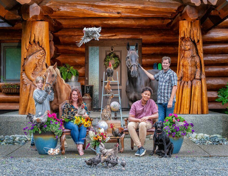 Фотограф снимает семьи фермеров с их питомцами на природе. Получаются очень теплые фото