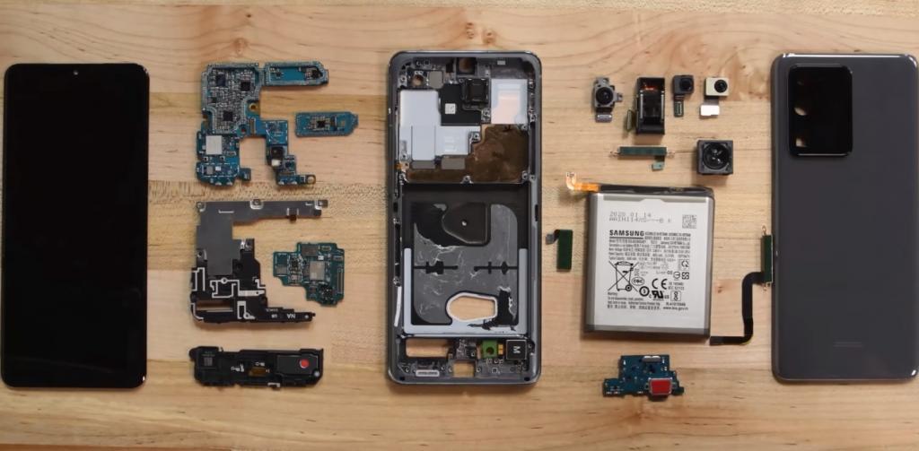 Флагманский смартфон Galaxy Note 21 Ultra от Samsung провалил тест на ремонтопригодность