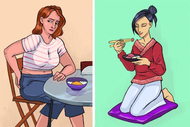 Японцы часто садятся обедать на пол: у этой традиции есть неожиданные преимущества – улучшение осанки, похудение и другие