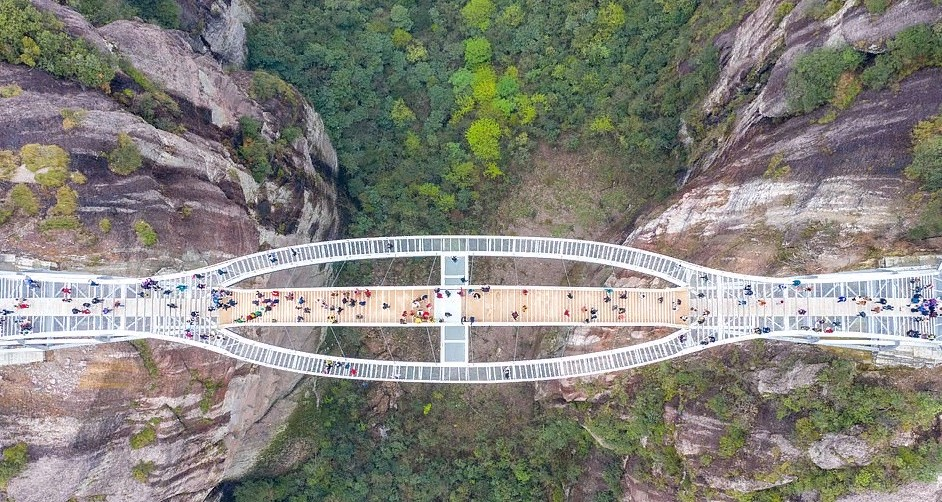 """Не каждый отважится прогуляться по прозрачному волнистому мосту: фото """"страшных"""" мостов в Китае"""