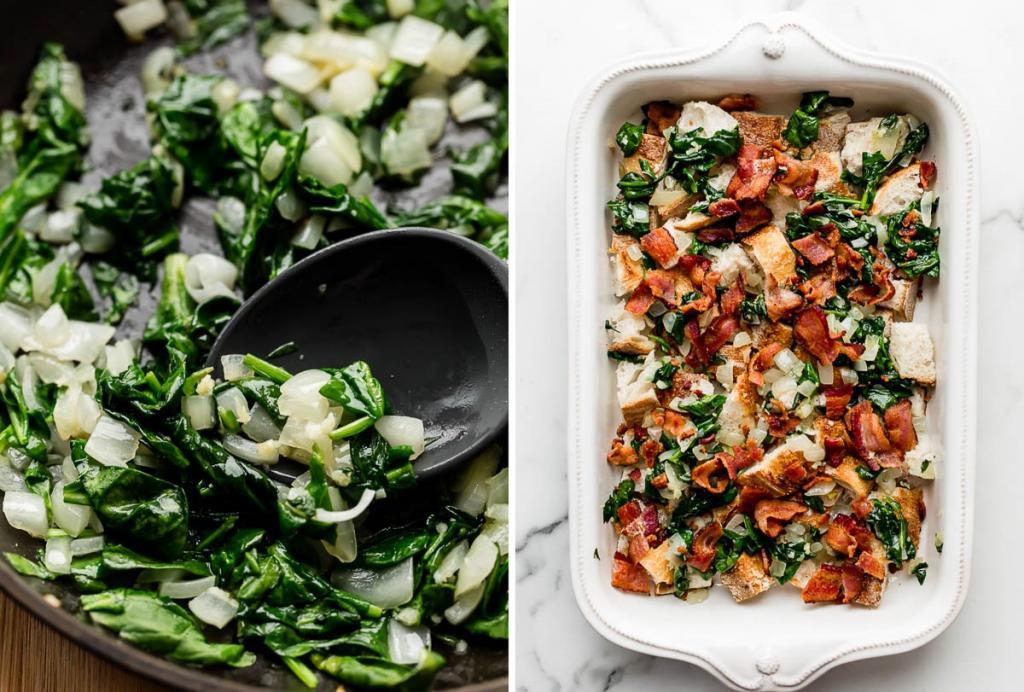 Если яичница и бутерброды надоели: сытная страта для завтрака со шпинатом и беконом