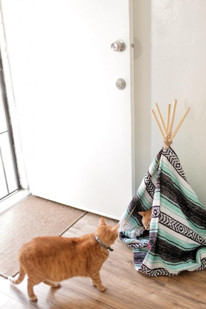 Делаем для кота уютный дом-вигвам. Нужны всего пара дощечек, теплый плед и 20 минут времени