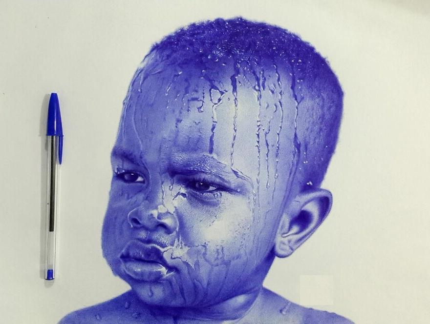 Египетский художник Мостафа Ходейр создает невероятно реалистичные портреты обычной шариковой ручкой
