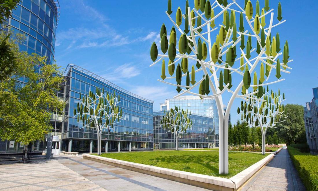 Новые ветротурбины, изготовленные в форме деревьев, прибыли в Париж (8 фото)