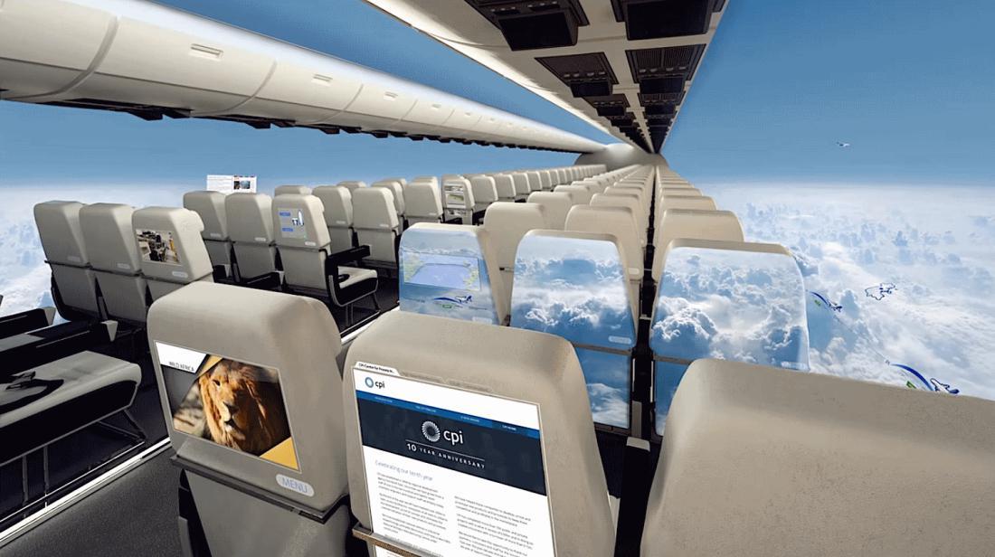 Самолеты без окон предлагают пассажирам захватывающий панорамный вид