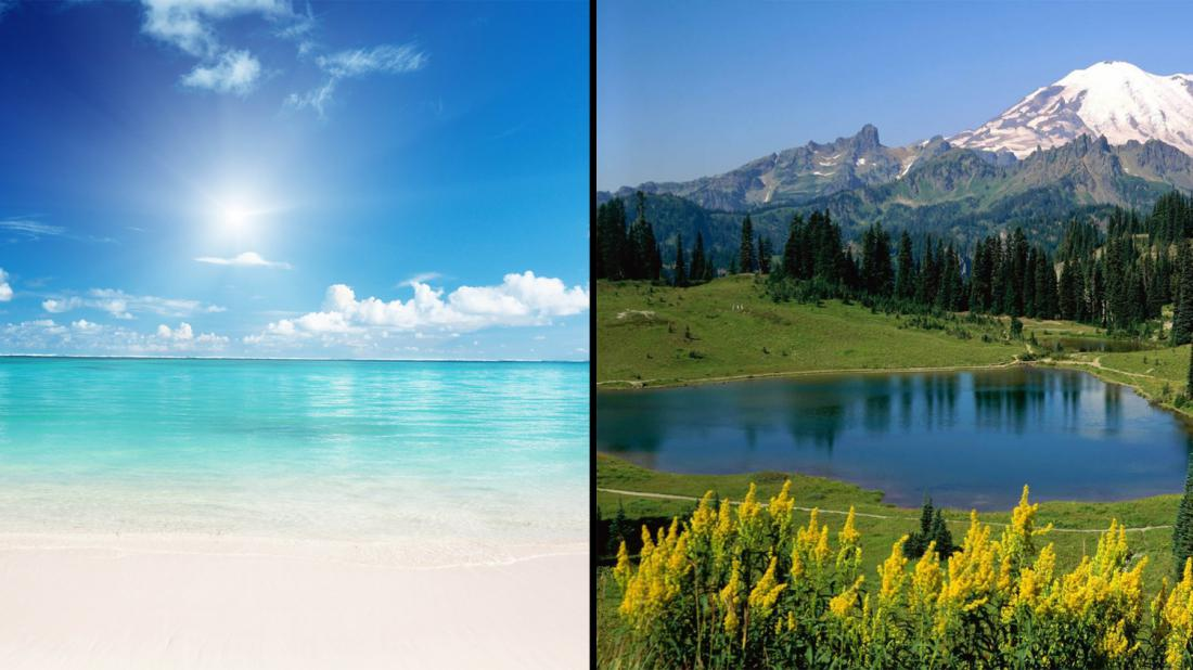 comparison between beach and mountain vacation Compare cities the bestplaces city compare will show you how two cities compare in over a dozen categories and 100s of items the most popular comparisons are: population, cost of living, average rent, crime rate, tax rates and air quality.