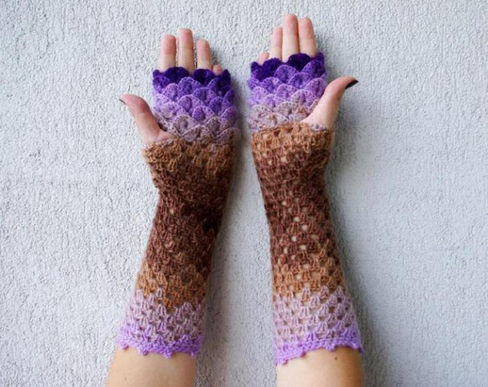 перчатки вязаные зима