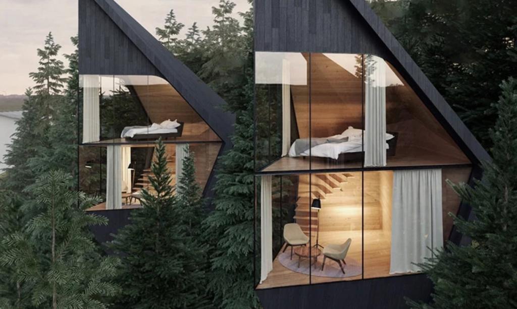 Отель в единении с природой: оригинальные номера в домиках, висящих на деревьях