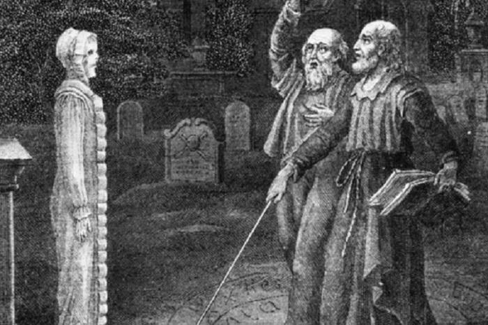 Ди и Клелли во время вызова мертвых на кладбище