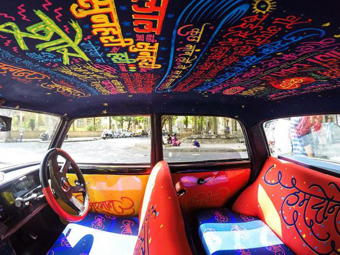 Unusual interior taxi in Mumbai literally mesmerizing