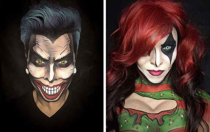 Визажист легко превращается в супергероев из комиксов благодаря макияжу