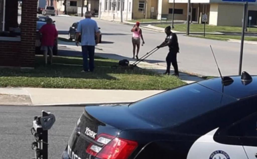 Женщина-полицейский помогает бабушке скосить траву в жару. Позже о ее поступке расскажут в новостях