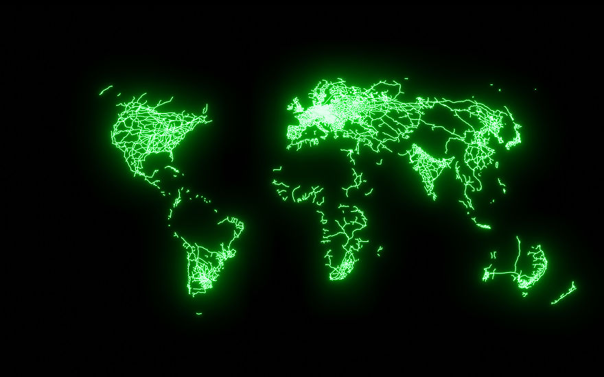 Художник создал серию географических карт, которые показывают, как тесен наш мир и как мы все связаны с помощью аэролиний и ЖД-сообщений