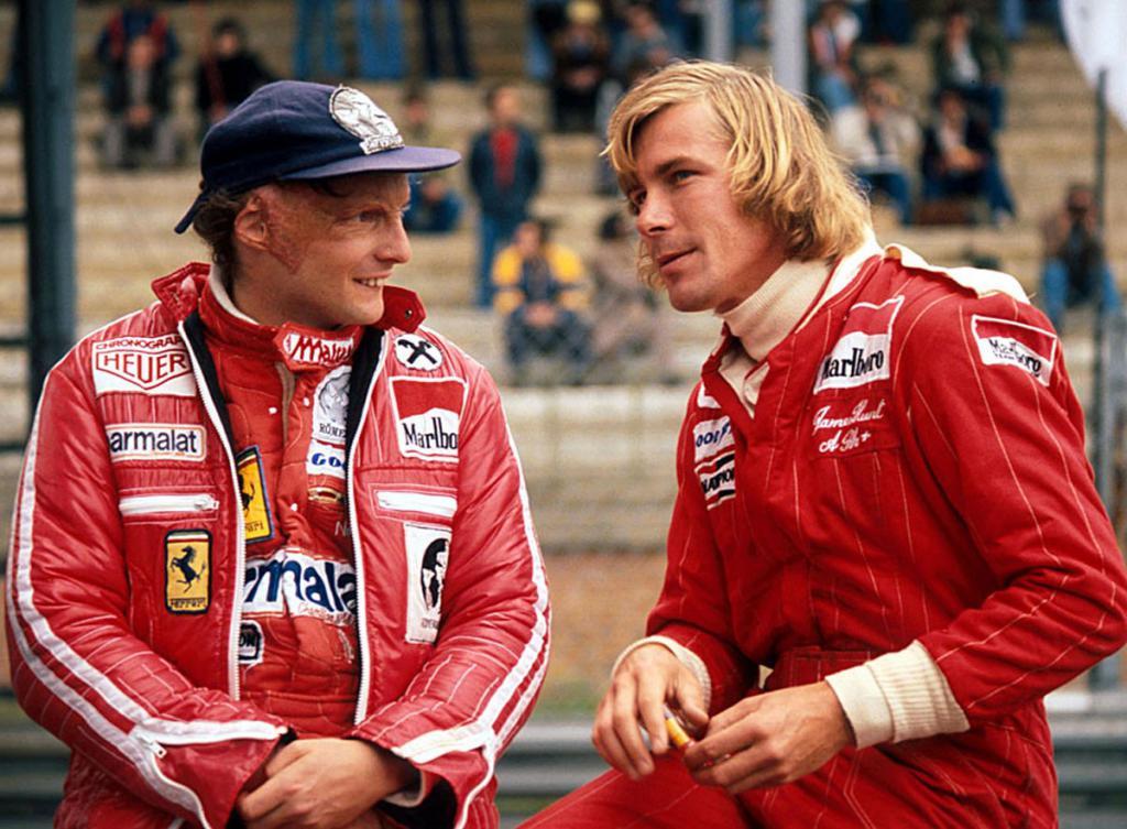 Hunt and Lauda in Formula 1 racing